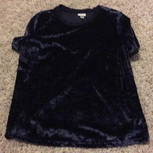 Tops - Navy velvet shirt
